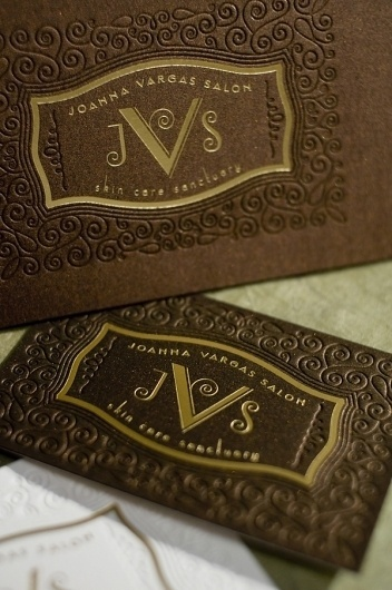 Joanna Vargas Salon Brand Identity and Makeover #brier #embossing #design #luxury #vintage #gold #logo #david #foil #typography