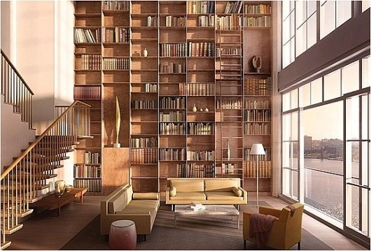 AMAZING NY PENTHOUSES WITH EN-SUITE SKY GARAGE #bookcases #interiors