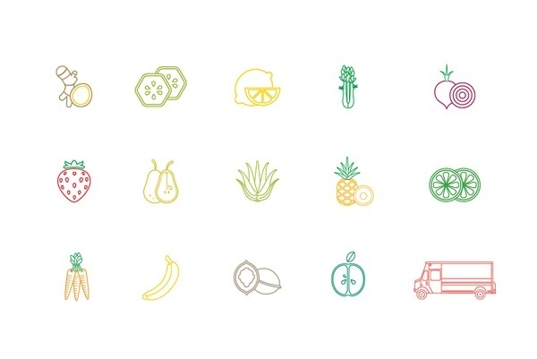 The Juice Cleanse on Behance #fruit #icons #food