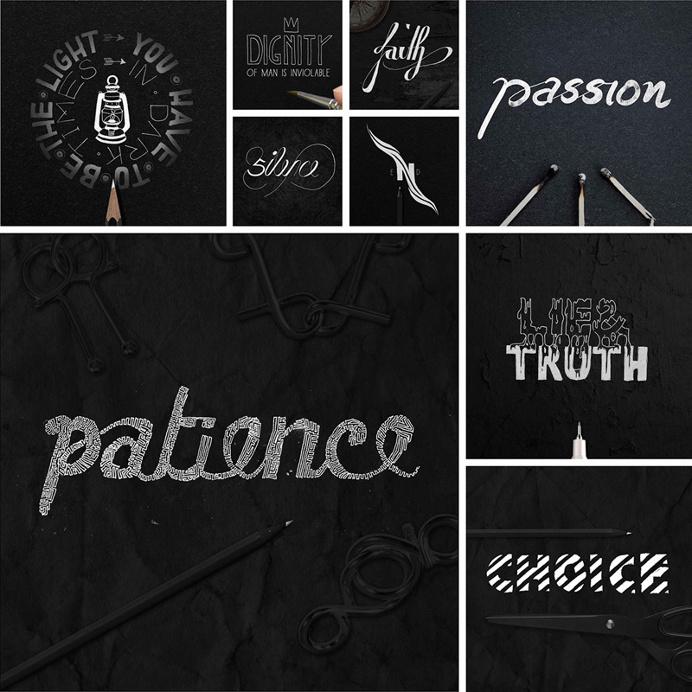 Artistic Typographic Artwork Illustrations