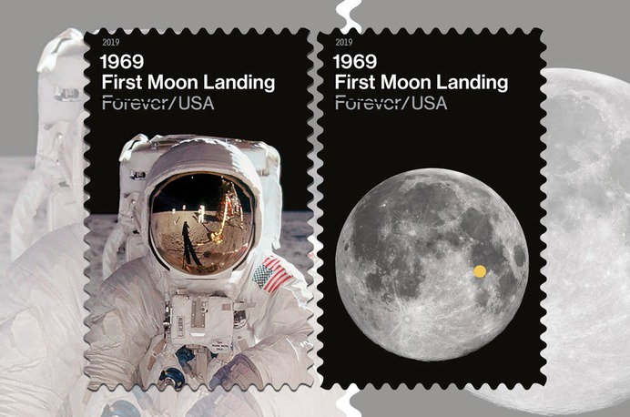 US Postal Service reveals stamps for moon landing 50th anniversary | collectSPACE