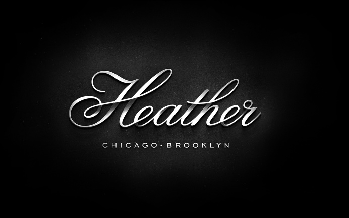 Heather, typography, script