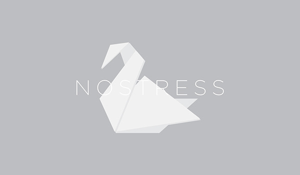 no stress brand on Behance #paperwork #white #swan #branding #nostress #graphicdesign #relax #graphic #design #calm #paper #brand #origami #logo #stress #italy #japan #no