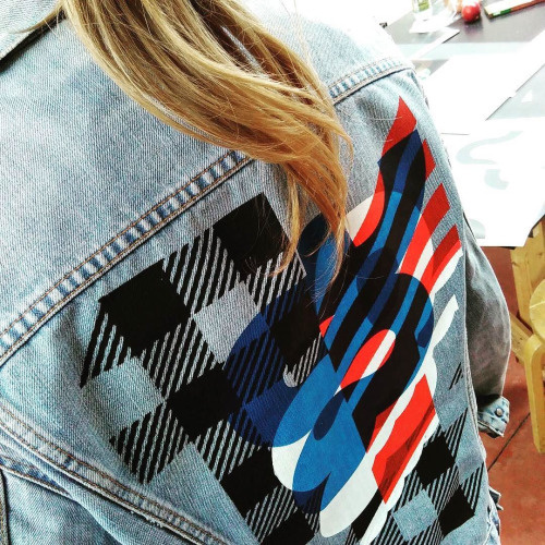 gezeever screenprint denim jacket Print Making Money Gang PRINTMAKINGMONEYGANG typography illustration gezeever open zeefdrukwerkplaats Antw