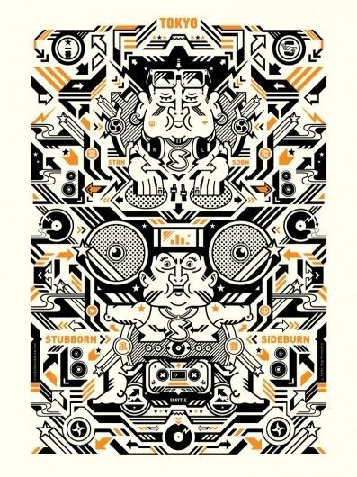 Japanesque Musique poster   STUBBORN SIDEBURN® #print #poster #illustration
