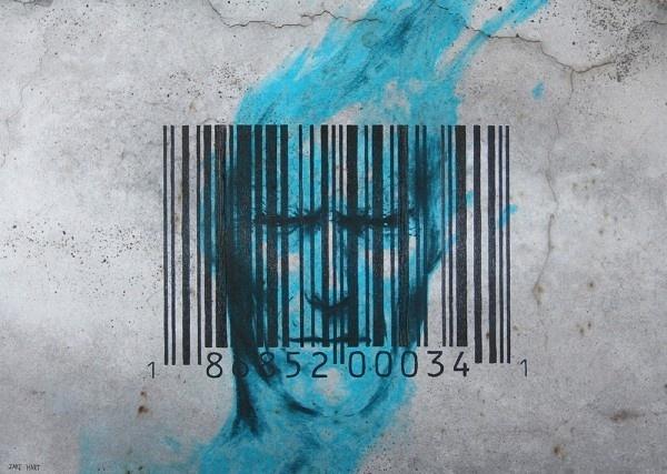Breaking The Code #barcode #interior #concrete #rustic #design #industrial #identity #art #canvas #blue