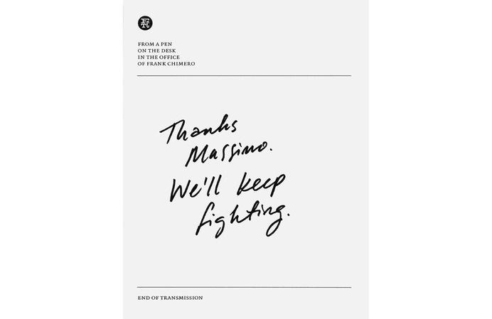 Thanks Massimo. We'll keep fighting. #handwriting #print #chimero #typography