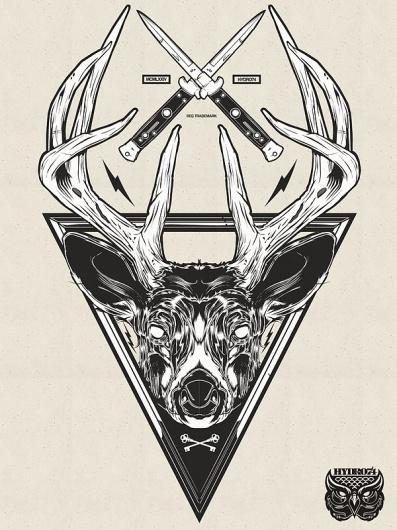 Recent Illustrations 2012 on the Behance Network #antlers #knives #illustration #deer