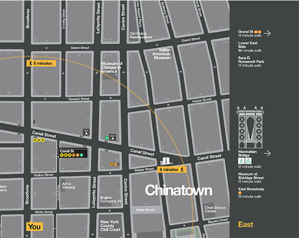 The signs provide an estimate of walking time to points in the neighborhood. #pentagram #wayfinding