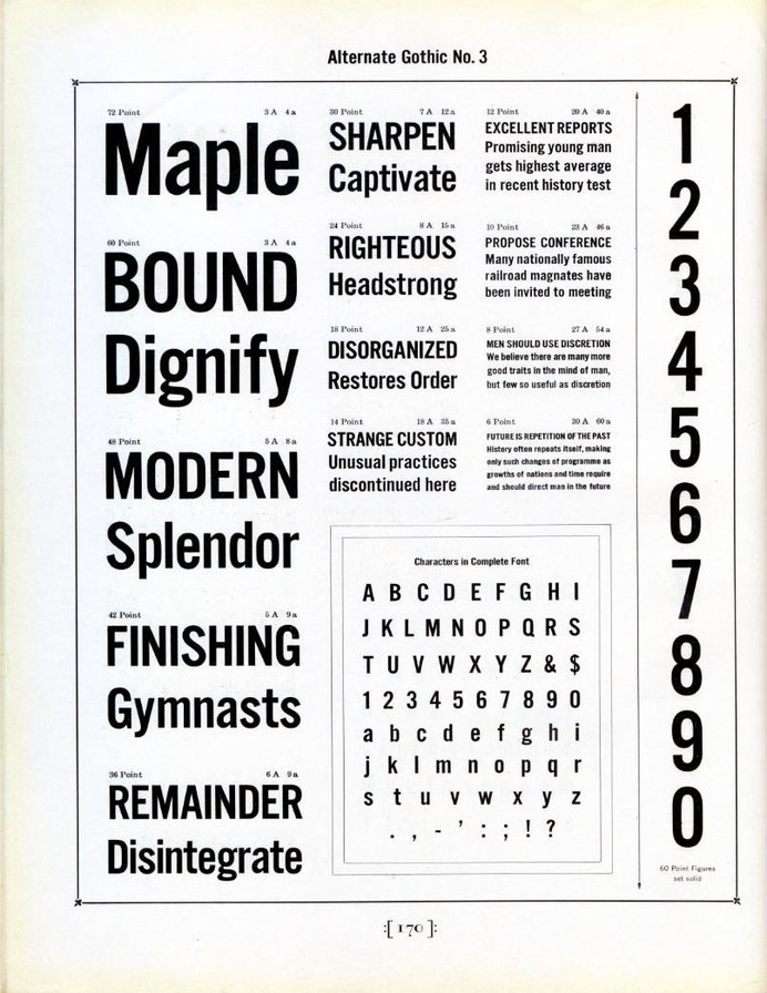Alternate Gothic type specimen #type #specimen