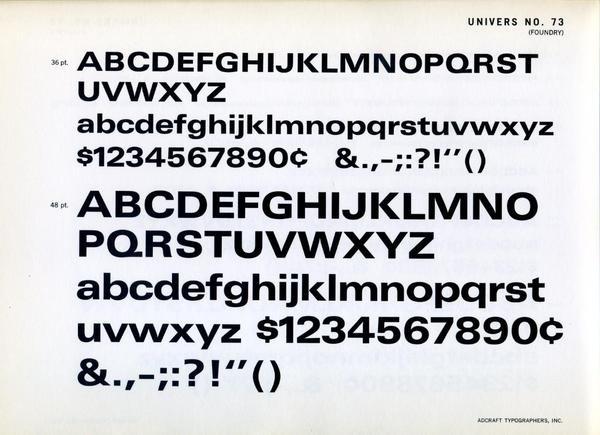 Univers 73 type specimen #typography