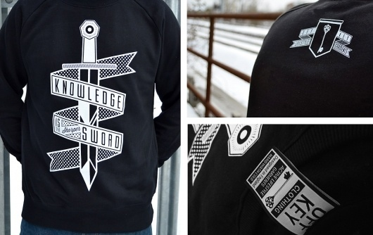 A is for Alias » 'Knowledge' – Off Key Clothing #banner #clothing #branding #sword #logo #type