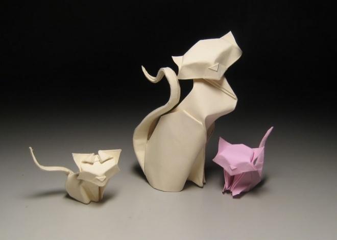 cat, folding, paper, origami