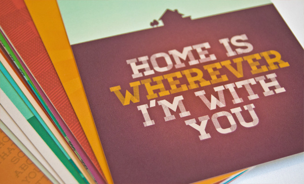 Home postcards. Illustrated lyrics from the Edward Sharpe & The Magnetic Zeros song 'Home' by designer Chris Hannah. #americana #design #sharpe #home #posters #postcards #edward #typography
