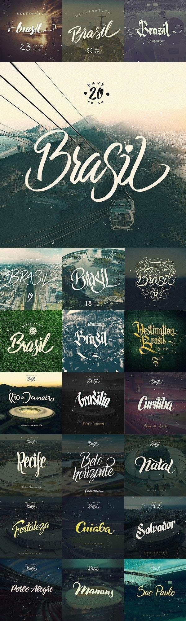 Destination Brasil by Arkadiusz Radek #inspiration #lettering #world #fifa #brasil #2014 #cup #typography