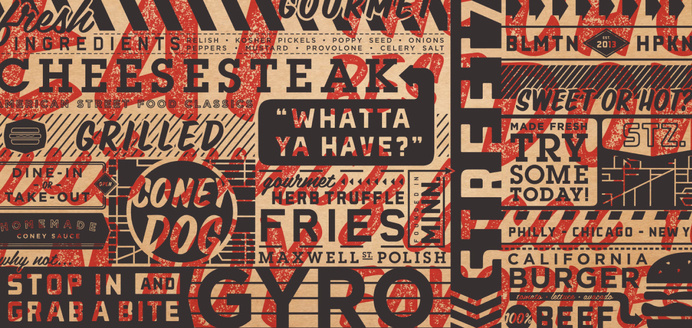 Streetz American Grill | Cue | A Brand Design Company #pattern #wrap #display #restaurant #typography