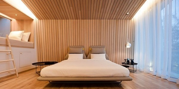 Modern wooden bed in bedroom of toy bears house #bears #toys #house #modern #teddy #art #bear