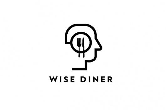 Logo Designs on the Behance Network #line #white #wise #head #kelava #black #food #restaurant #diner #logo