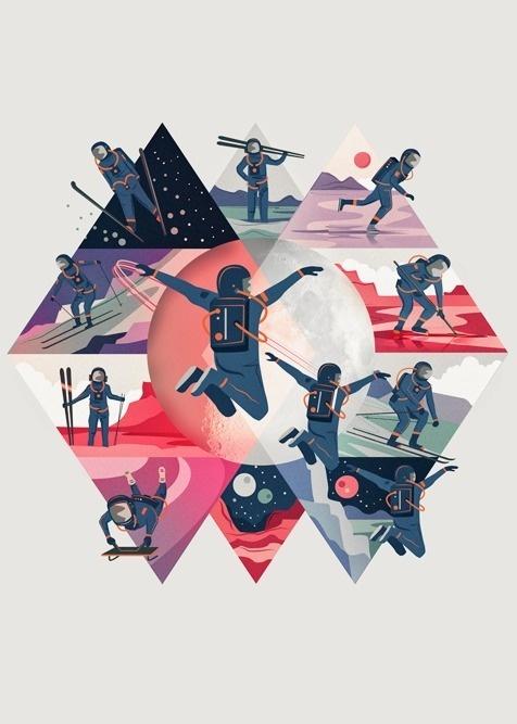 Space Winter Sports By Neil Stevens #inspiration #illustration #sports