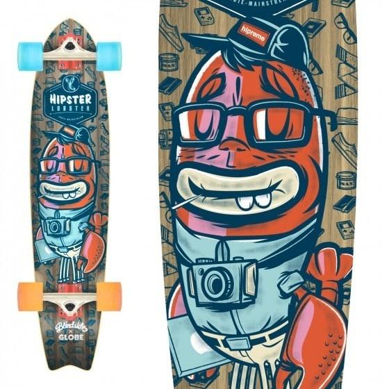 Vector Art #lobster #design #hipster #skateboard #character