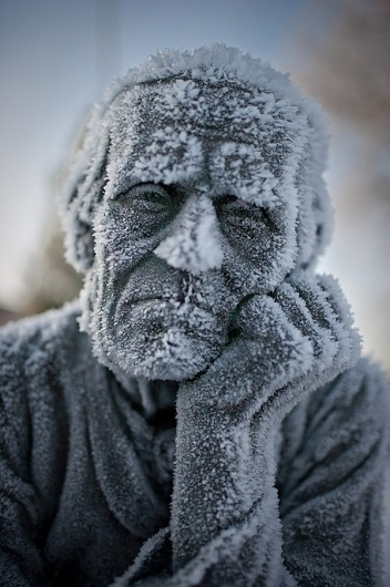 Frost Bite | Colossal #sculpture #statue #photography #frost #man #ice