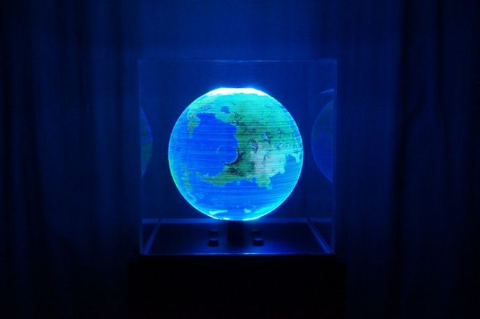 Globe: An Interactive Spherical Display - IPPINKA As technology makes its leaps and bounds, more and more of our dreams are able to be cemented in reality! Globe is a single ring of LEDs rotating 15 times a second in order to produce a spherical display of anything you wish!