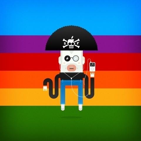 Steve The Pirate by Screenfunk - Screenfunk #steve #ipad #jobs #iphone #wallpaper #character