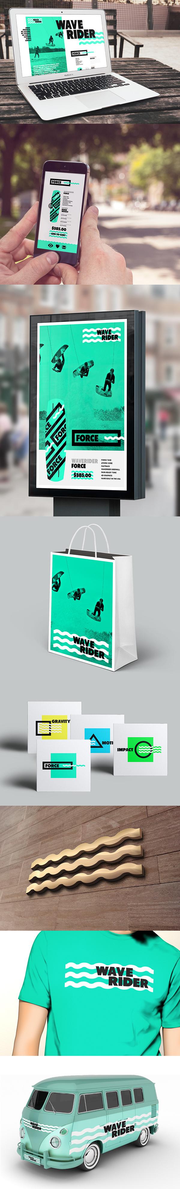 WAVERIDER // Branding on Behance #logo #identity #shape #green #branding #black #sea #water