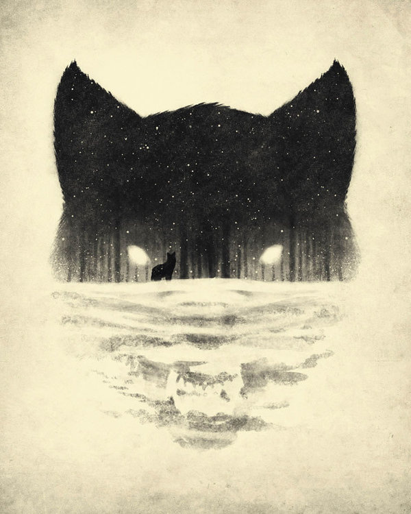 Fox and Forest illustration by Dan Burgess #white #negative #black #space #illustration