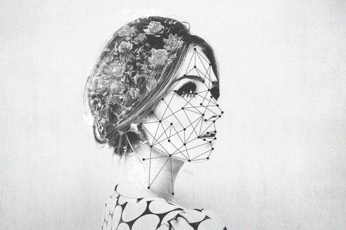 Maybe by Edgar Hernandez #double exposure #black and white #landscape #flowers #dots #abstract #model #photography #design #album cover #alb