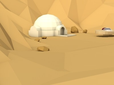 Low poly xe2x80x93 Outside of mos eisley #tatooine #wars #poly #star #low