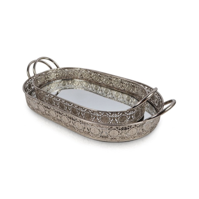 Moroccan Silver Oval Tray With Mirror Base and Handles, Set of Two 45cm x 28, 37cm x 21.5cm