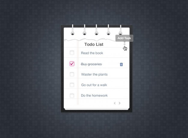 To do list simple design psd Free Psd. See more inspiration related to Design, List, Schedule, Psd, Software, Trash, Simple, Material, Interface, Checkmark, Task, Horizontal, Delete and Interface design on Freepik.