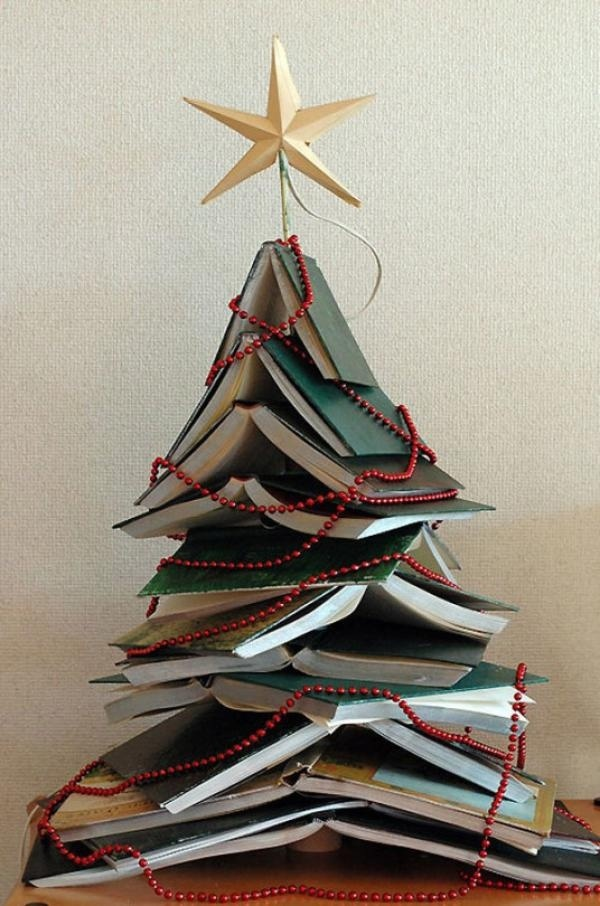 Book Christmas tree with beaded garlands. If you want a unique yet casual look for your book Christmas tree then this is the design you are