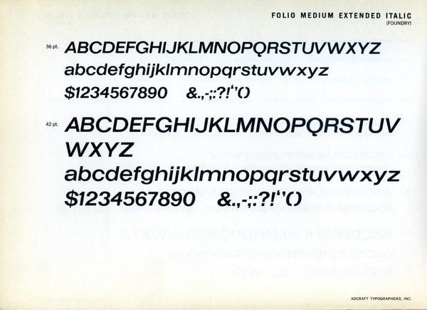 Folio Medium Extended Italic type specimen #type #specimen #typography