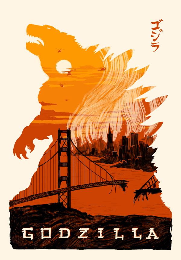 Godzilla Poster designed for the ShortList.com poster show #tim #weakland #godzill #2014 #theshortlistcom #godzilla