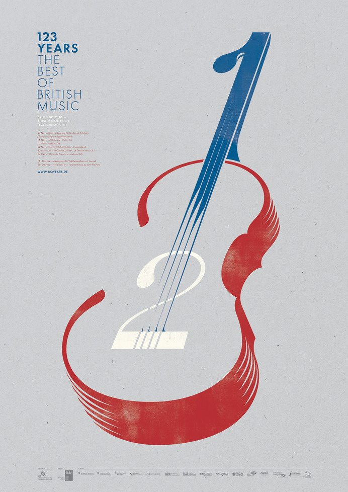 Logo & Poster design created by Taxi Studio for IAM's upcoming festival, '123 Years: The Best of British Music' #wit #guitar #violin #print #design #graphic #screen #illustration #poster #music #logo #karlwills #typography