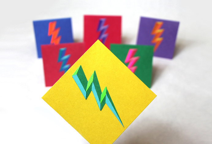 lightning bolt greeting cards by Joelle McKenna #layered #texture #lightning #paper #bright #color #composition #bevel #shadow #icon #photo #photography #cards #light #cut #iconic #bolt #balance #greeting #layout #dark