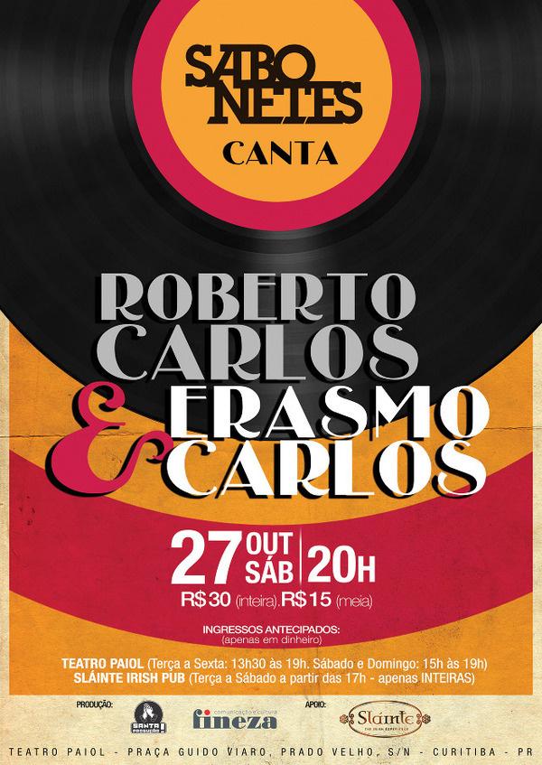 SABONETES canta Roberto Carlos & Erasmo Carlos #sabonetes #erasmo #carlos #guarda #jovem #poster #roberto