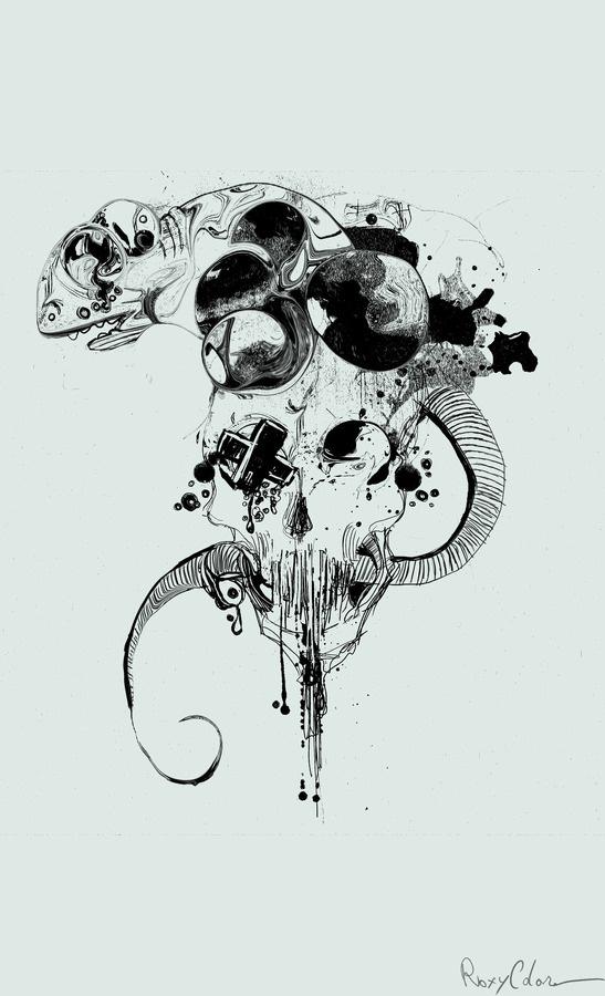 cameleon skull #cameleon #skull #design #drawing