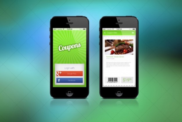 Two screens for coupon app Free Psd. See more inspiration related to Mockup, Coupon, Mock up, App, Product, Psd, Barcode, Screen, Horizontal, Two, Detail, Pricetag, Screens, Resolution and Retina on Freepik.