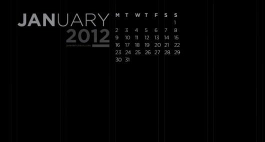 Free January 2012 calendar wallpaper   Jared Erickson #gothem #2012 #january #calendar #columns #black #grid #jan #dark