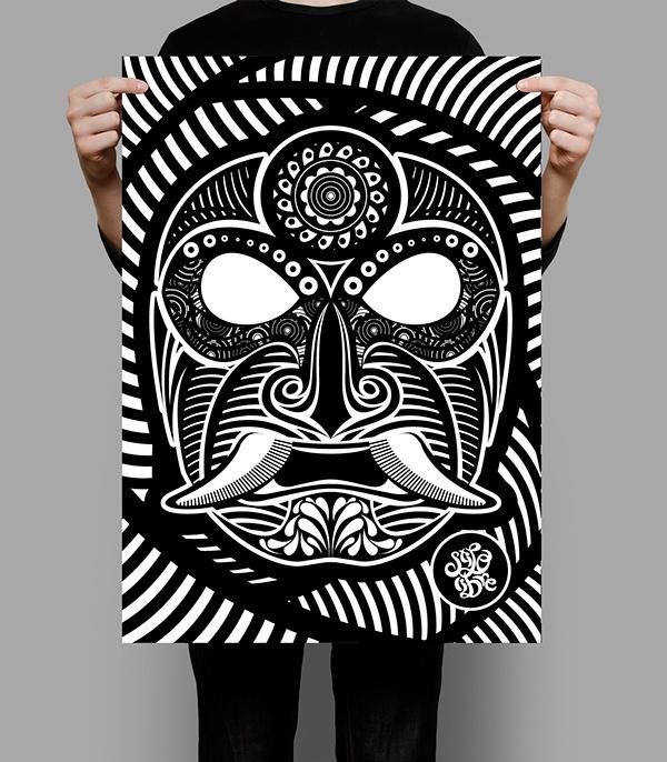 METODO DE DIBUJO MEXICANO... on Behance #vector #white #sadik #mexico #black #mexican #mask #and #samurai #style