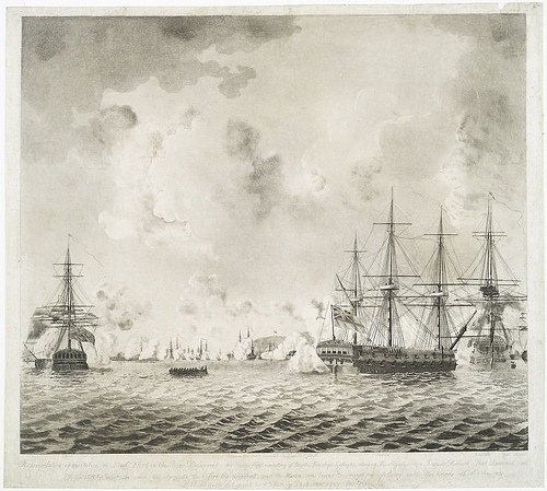 Representation of the action off Mud Fort in the River Delaw... | Flickr - Photo Sharing! #pennsylvania #ships #1777 #boats #delaware #ship #boat #navy #river