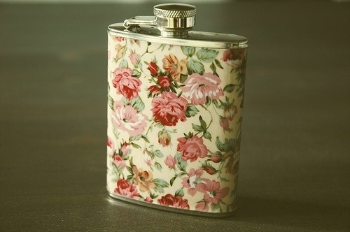 A Bushel of Mustache   wantwantwantwant #flask #pattern #floral