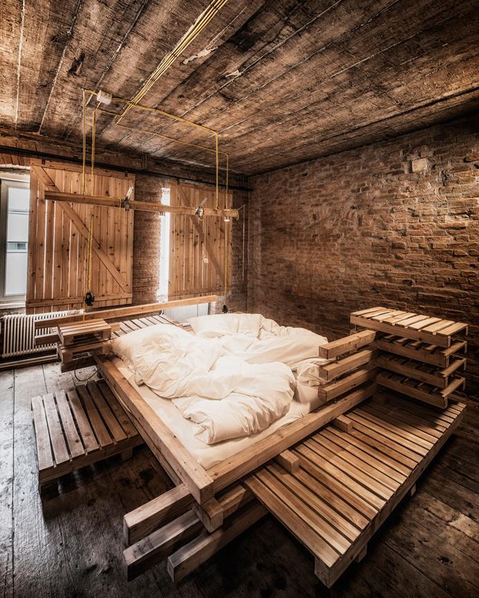 heri&salli viennese guest room gegenbauer vinegar brewery designboom #bed