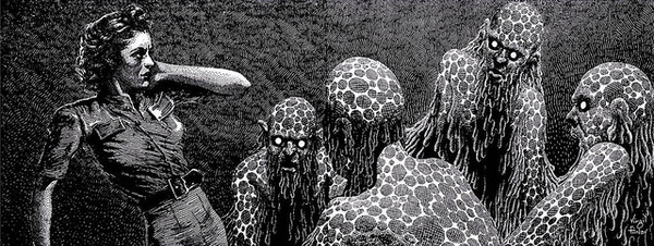 Virgil Finlay - 98 #ink #white #woman #cross #horror #fi #sci #black #monsters #and #hatching