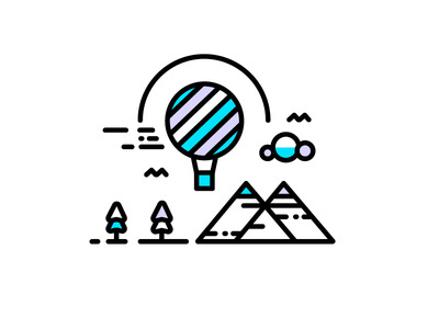 Ain't No Mountain High Enough #mountain #line #vector #tree #sky #icon #illustrator #balloon #illustration #logo #drawing #detail