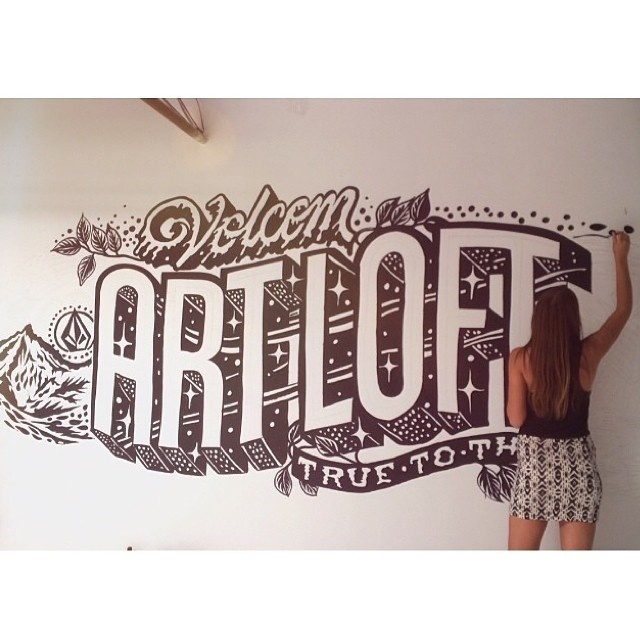 Wall mural for @volcom by the insanely talented @mrseaves101 #lettering #wall #murals #hand #typography