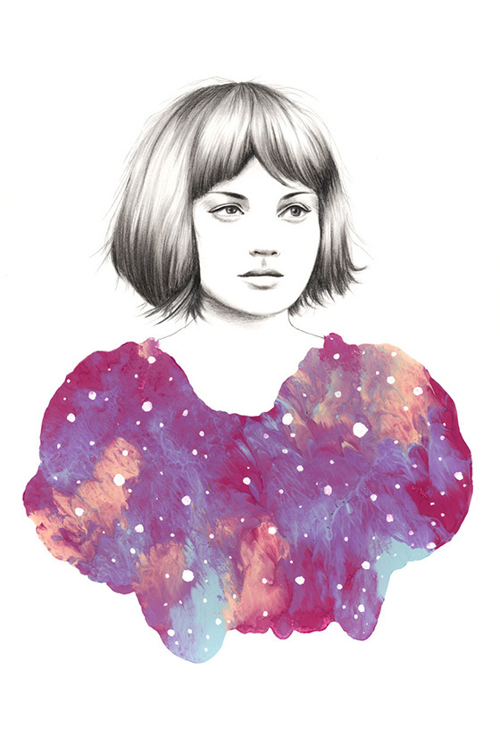 THE NEBULA SERIES Amanda Mocci #paint #portrait #mocci #blue #amanda #pencil #sketch